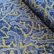 Yellow Bush Plum in Blue Australian Aboriginal Art Fabric by Julieanne T. Nungarray by M & S Textiles Cut from the Bolt - OzQuilts