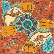 Mirram Mirram in Red Australian Aboriginal Art Fabric by Nambooka - Wideback 150cm wide by M & S Textiles Wide Quilt Backs - OzQuilts