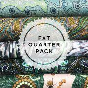 Aboriginal Art Fabric 5 Fat Quarter Bundle - Bright Green Colourway by M & S Textiles - Fat Quarter Packs
