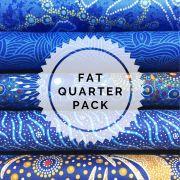 Aboriginal Art Fabric 5 Fat Quarter Bundle - Blue Gold Colourway by M & S Textiles Fat Quarter Packs - OzQuilts