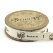 "Printed Cotton Ribbon ""Spools & Hand Made"" 15mm wide x 5 metres by Bowtique Bag Making Ribbon  - OzQuilts"