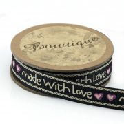 "Printed Ribbon ""Handmade with Love"" 15mm wide x 5 metres by Bowtique Bag Making Ribbon  - OzQuilts"