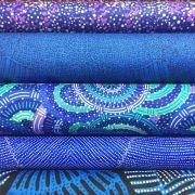Aboriginal Art Fabric 5 Fat Quarter Bundle - Blue Green Colourway by M & S Textiles Fat Quarter Packs - OzQuilts