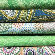 Aboriginal Art Fabric 5 Fat Quarter Bundle - Bright Green Colourway by M & S Textiles Fat Quarter Packs - OzQuilts