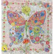 Flowerfly Butterfly Collage Pattern by Laura Heine by Fiberworks Collage  - OzQuilts