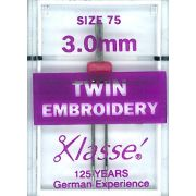 Klasse Embroidery Twin Machine Needle Size 75 3.00mm by Klasse - Machines Needles