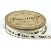 "Printed Grosgrain Ribbon ""Made with Love"" and Hearts 15mm wide x 5 metres by Bowtique Bag Making Ribbon  - OzQuilts"