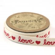 Printed Cotton Ribbon Red Love & Heart Print 15mm wide x 5 metres by Bowtique - Ribbon