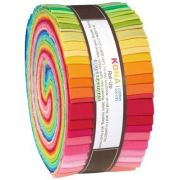"Kona Cotton Roll Up Bright Palette  2.5"" Strips x 40 Pieces by Robert Kaufman Fabrics Kona Cotton - OzQuilts"