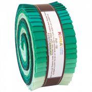 "Kona Cotton Rollups 2.5"" Strips Lush Lagoon Colourway by Robert Kaufman Fabrics - Kona Cotton"
