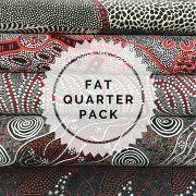 Aboriginal Art Fabric 5 Fat Quarter Bundle - Black, White & Red Colourway by M & S Textiles Fat Quarter Packs - OzQuilts