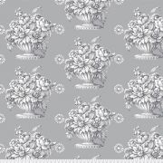 """Stone Flower in Grey 108"""" wide Quilt Backing - 2.4 m x 70cm by The Kaffe Fassett Collective - Stone Flower Quilt Backing"""