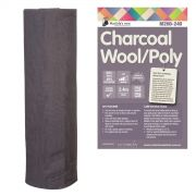 Matilda's Own 60% Wool 40% Polyester Batting, Charcoal Colour  2.4 metres wide x 80cm End of Roll by Matilda's Own - Quilt Batting Offcuts & End of Rolls