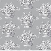 Kaffe Fassett Silver Grey Stone Flower Quilt Backing 2.74m x 2.74metres (Queen Size) by The Kaffe Fassett Collective - Stone Flower Quilt Backing