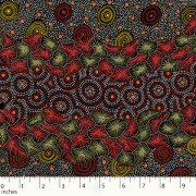 Wild Seed & Waterhole Black by Tanya Price Nangala by M & S Textiles - Cut from the Bolt