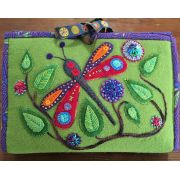 Woolly Zip It Bag Bird/Dragonfly Pattern by Wendy Williams by Wendy Williams of Flying FIsh Kits - Storage & Accessories