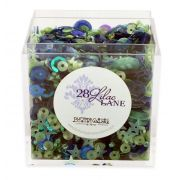 Lilac Lane Sequins Indigo Mint by Buttons Galore - Beads