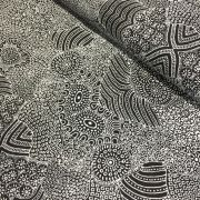 Waterhole Black by Anna Pitjara by M & S Textiles - Cut from the Bolt