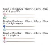 "Tulip Glass-Head Pins ""Aosora"" (20) by Tulip - Applique Pins"