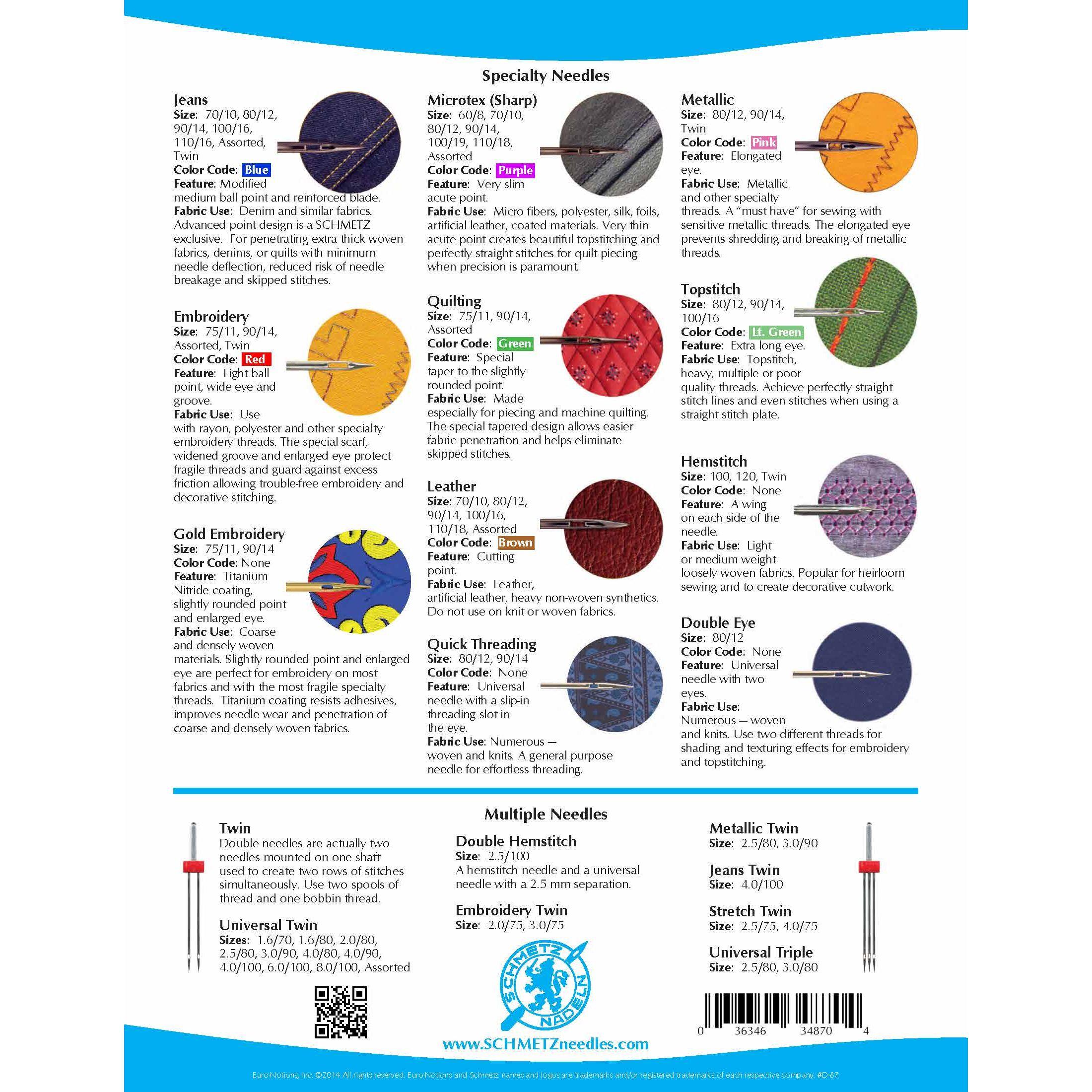 Schmetz Metallic Machine Needles Size 80 12 By Schmetz