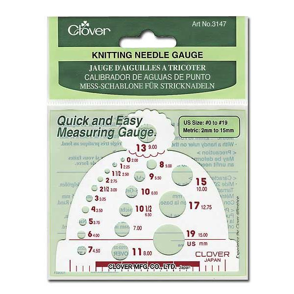 Knitting Needle Sizes Old And New : Clover knitting needle gauge by