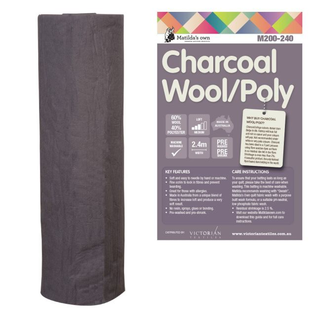 Matilda's Own 60% Wool 40% Polyester Batting, Charcoal Colour, 30 metres x 2.4 metres by Matilda's Own Bulk Rolls of Batting - OzQuilts