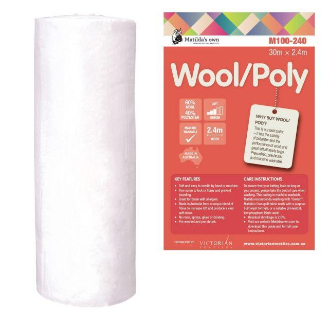 Matilda's Own 60/40 Wool/Polyester Batting Roll 30 metres x 2.4 metres by Matilda's Own - Bulk Rolls of Batting