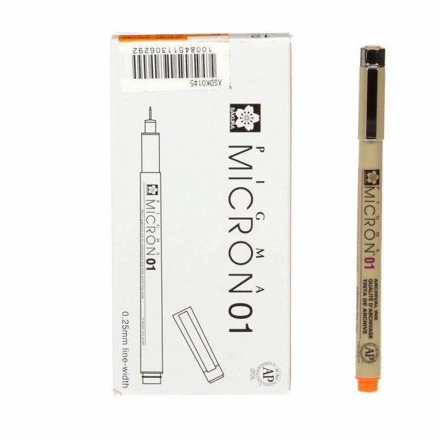 Pigma Micron Pen Orange .25mm Size 01 by Pigma - Pigma Marking Pens