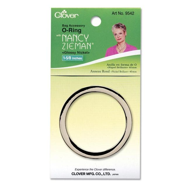 "Clover O-Ring 1-5/8"" (Glossy Nickel) by Clover Hardware for Bags - OzQuilts"