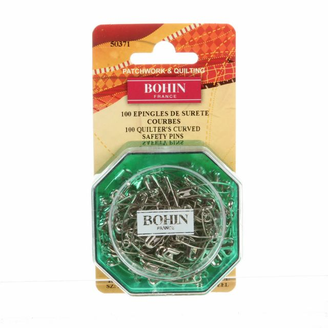 """Bohin Quilters Curved Safety Pins , 100 Pins 1 1/8"""" by Bohin Safety Pins - OzQuilts"""