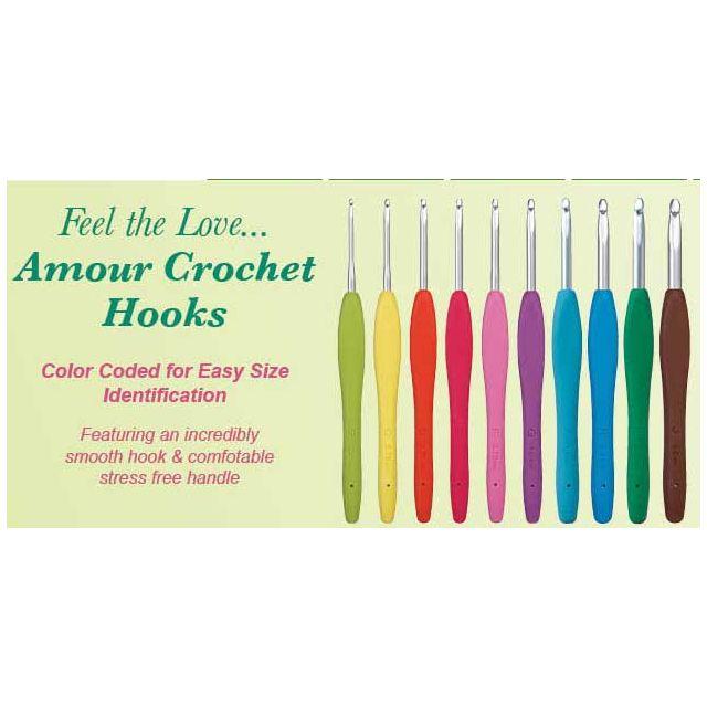 Clover Amour Crochet Hooks 10 Hooks sizes 2.25mm to 6mm by Clover Clover Amour Crochet Hooks - OzQuilts