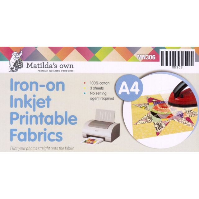 Matilda's Own Iron-On Inkjet Printable Fabric Sheets  A4 Size 3 sheets per pack by Matilda's Own Inkjet Fabric Sheets - OzQuilts