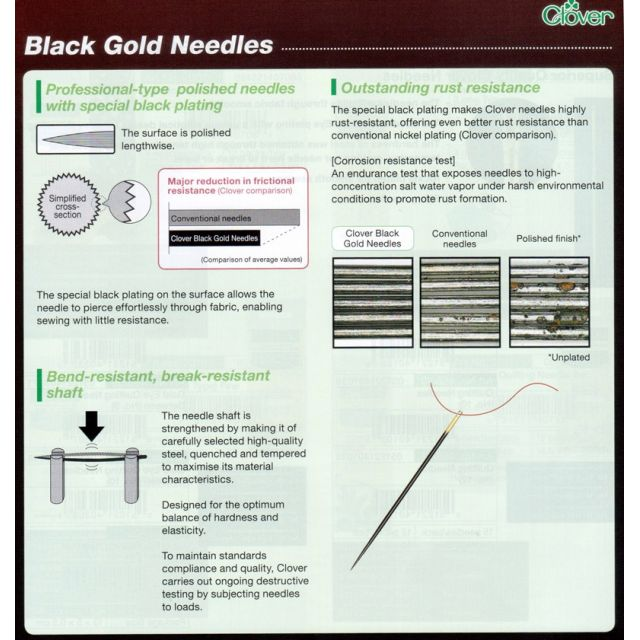 Clover Black Gold Quilting BETWEEN Needles by Clover Hand Sewing Needles - OzQuilts