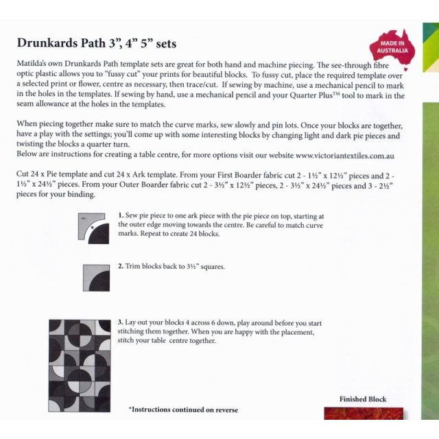 """Matilda's Own Drunkards Path 3"""", 4"""" and 5"""" Patchwork Template Set by Matilda's Own Quilt Blocks - OzQuilts"""
