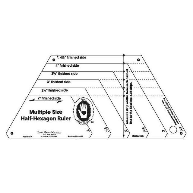 Marti Michell Multi Size Half Hexagon Ruler By Marti Michell