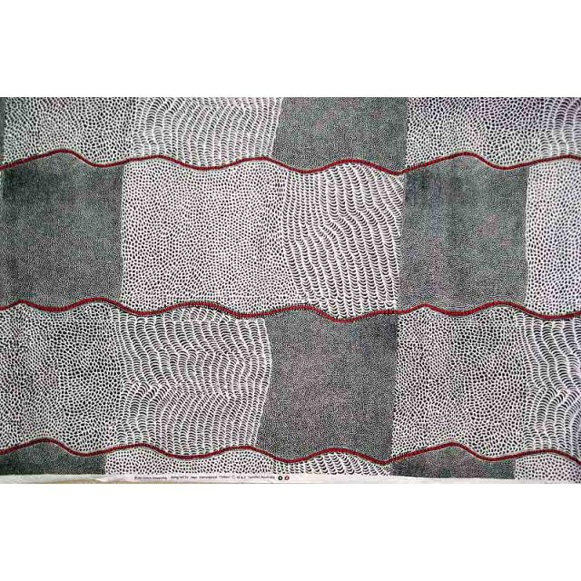 Bush Onion Dreaming Black Australian Aboriginal Art Fabric by Jean Nampajinpa Hudson by M & S Textiles Cut from the Bolt - OzQuilts
