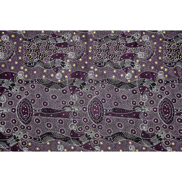 Dancing Spirit Purple Australian Aboriginal Art Fabric by Colleen Wallace by M & S Textiles Cut from the Bolt - OzQuilts