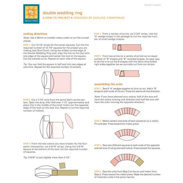 EZ Quilting Double Wedding Ring Ruler by EZ Quilting Quilt Blocks - OzQuilts