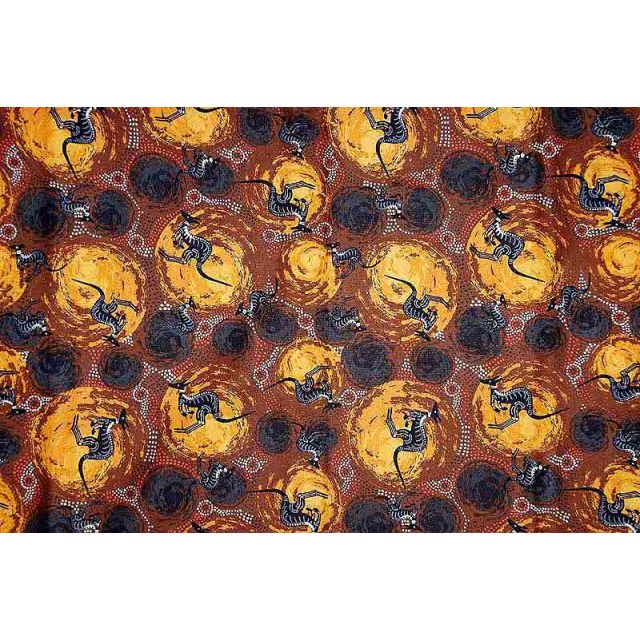 Kangaroo Brown Australian Aboriginal Art Fabric by Nambooka by M & S Textiles Cut from the Bolt - OzQuilts