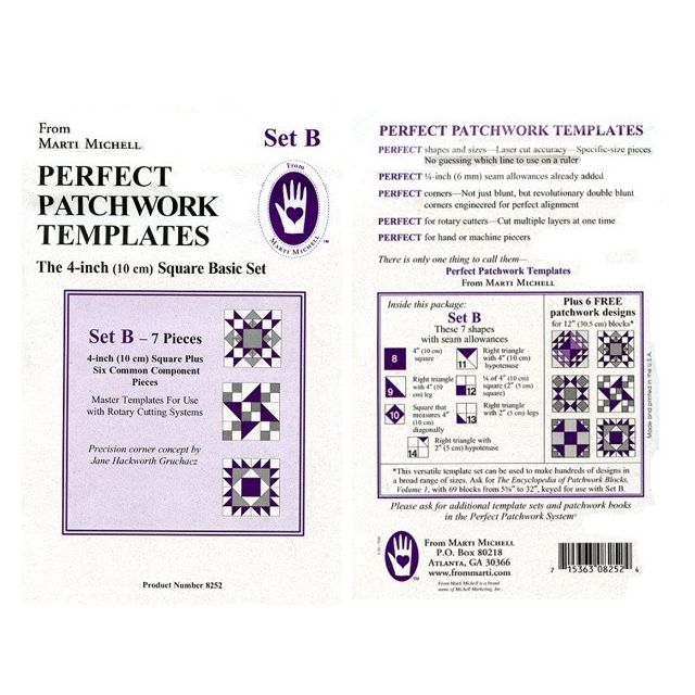 """Marti Michell Template Set B , 4"""" Square Basic Set by Marti Michell Quilt Blocks - OzQuilts"""