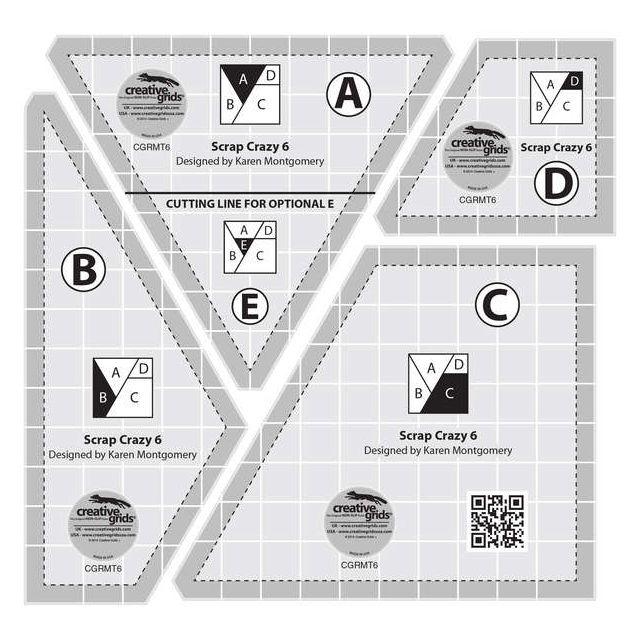 "Creative Grids 6"" Scrap Crazy Templates by Creative Grids Quilt Blocks - OzQuilts"