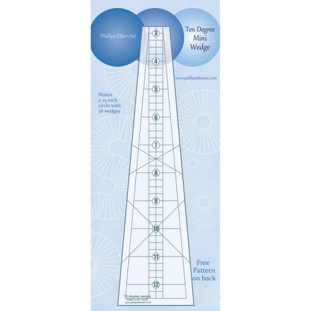 10 Degree Mini Wedge Ruler by Cheryl Phillips by Phillips Fiber Art Wedge Rulers - OzQuilts
