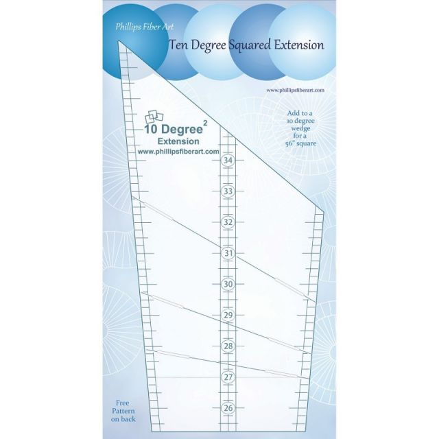 10 Degree Squared Extension Ruler by Cheryl Phillips by Phillips Fiber Art Wedge Rulers - OzQuilts