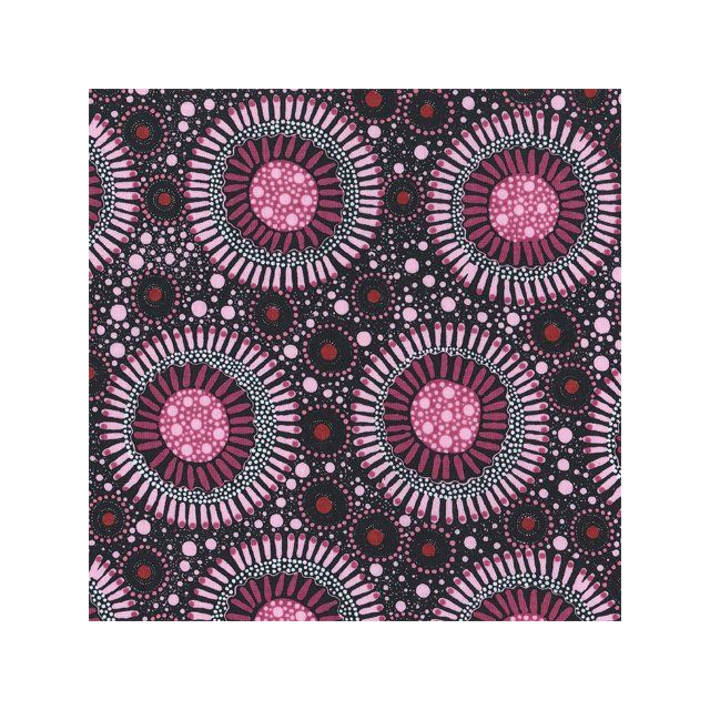 Wild Flora Orchid Smoke Australian Aboriginal Art Fabric by Christine Doolan by M & S Textiles Cut from the Bolt - OzQuilts
