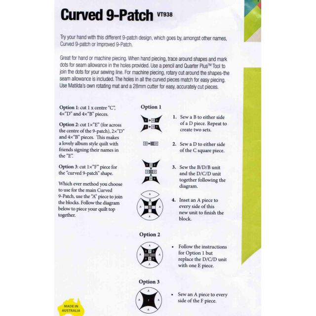Matilda's Own Curved 9 Patch Patchwork Template Set by Matilda's Own Quilt Blocks - OzQuilts