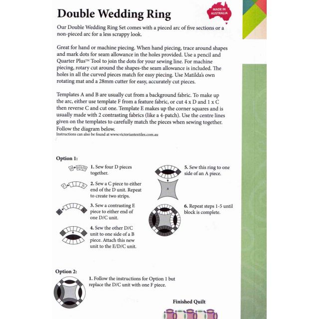 Matilda's Own Double Wedding Ring Patchwork Template Set by Matilda's Own Quilt Blocks - OzQuilts