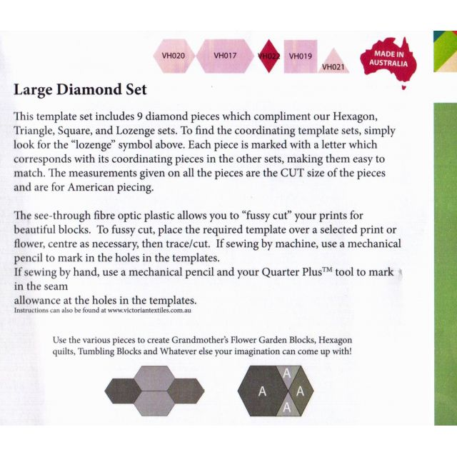 Matilda's Own Large Diamond Patchwork Template Set by Matilda's Own Geometric Shapes - OzQuilts