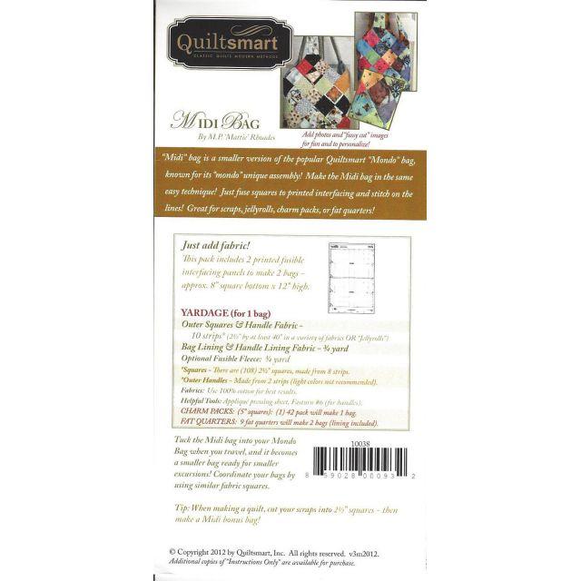 Quiltsmart Midi Bag Pattern & Printed Interfacing Bag Kit by Quiltsmart Bag Patterns - OzQuilts