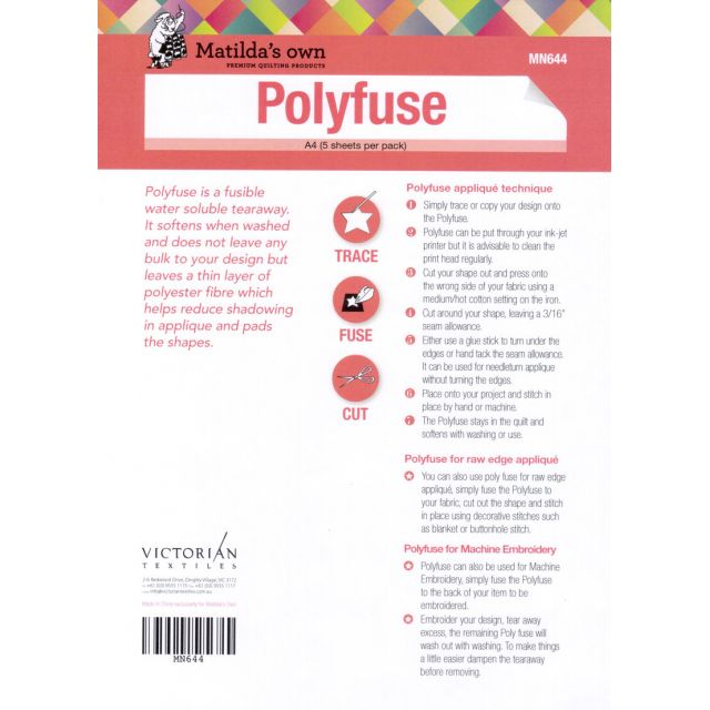 Polyfuse Fusible Water Soluble Tearaway A4 Sheets (5) by  Wash Away Paper - OzQuilts