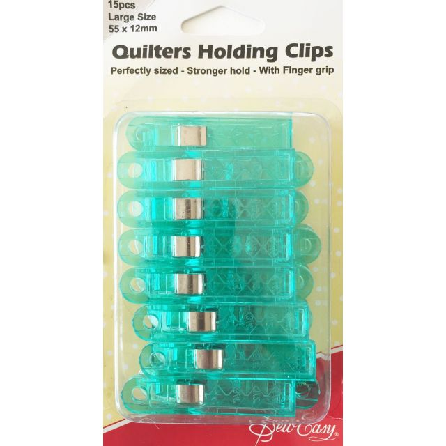 Sew Easy Quilters Wonder Clips, 15 Large Green Clips by Sew Easy Wonder Clips & Hem Clips - OzQuilts
